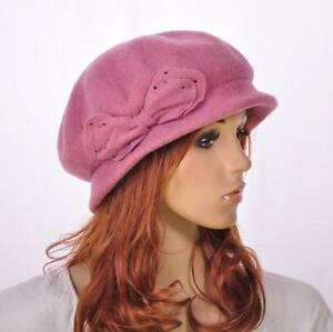 SM142 Pink Cute Bow Warm Wool Acrylic Winter Hat Beanie Cloche Cap Women's
