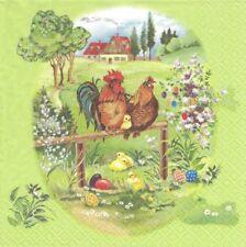 2 Serviettes en papier Pâques Coq Poule Decoupage Paper Napkins Easter Familly