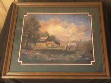 LARGE HOME INTERIORS WESTERN ART HORSES  & SUNSET PICTURE SIGNED SCROGGINS RARE