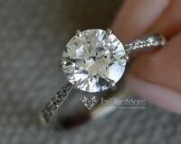 0.85CT D / VS2 Anillo Compromiso Diamante Corte Redondo de Novia 18K Oro Blanco