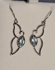 Blue Topaz 925 Sterling Silver Butterfly Wing Drop Earrings NEW
