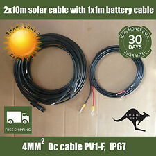 2x10m MC4 DC Solar cables to regulator with 1x1m reg to battery lead with lugs