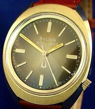 Bulova Accutron 218 gold plated watch with new matching Speidel leather band