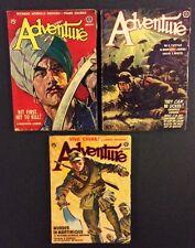 3 Vintage ADVENTURE PULP Magazines 1941 Fiction for Men Popular Publivcations
