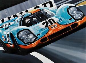 Porsche 917 Le Mans film 90 x 70 cms limited edition art print by Colin Carter