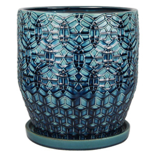 Trendspot 12 inch Dia Ceramic Rivage Planter Bohemian Indoor,Outdoor