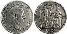 ITALIEN , VICTOR EMMANUELLE III , 20 LIRE SILBER 1927 , VI ROM