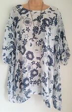 New Ladies Lagenlook 100% Linen White Floral loose tunic top fits uk  24 26 28