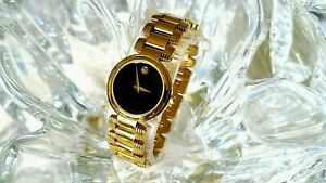 Movado Swiss Quartz 7 Jewel, Gold-Tone 88 A1 1844 Sapphire Crystal Ladies Watch