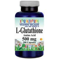 L-Glutathione 500mg Amino Acid Free Form 200 Caps by Vitamins Because