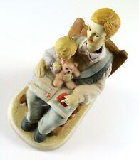 Porcelain Music Box Man Reading to Child Bear, Plays