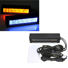 New 12v LCD Car In/Out Temperature Thermometer Voltage Digital Alarm Clock