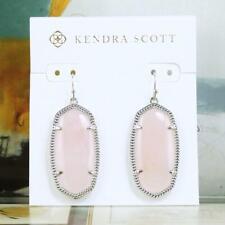 NWOT Kendra Scott Elle Rose Quartz Earrings Silver Tone