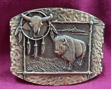 Tatanka Native American Design Solid Brass Belt Buckle Buffalo