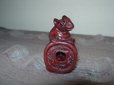 Netsuke Mouse Rat Coin (2) Figurine buis japonais Handcarved Handmade Carving