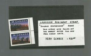 1989 CANADIAN REGIMENT PAIR DOUBLE IMPRESSIONS ERROR IN NRMT SHAPE