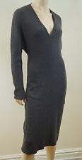 MAXMARA Made In Italy Grey Wool Rabbit Angora Blend V Neck Dress Sz I44 UK12