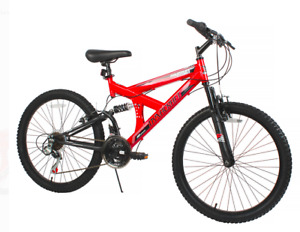 """24"""" Gauntlet Mountain Bike Red 18 Speeds Dual Suspension Front And Rear V-Brakes"""