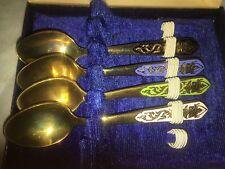4 vintage brass & enamel demitasse spoons boxed Thai Gems Factory