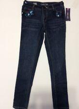 Cherokee New Girls Super Skinny Adjustable Waist Cotton Blend Bling Jeans Sz 14