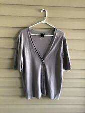 Ann Taylor women's L lavender gray short sleeve button up v-neck knit cardigan