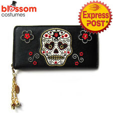 RKN44 Banned Sugar Skull Candy Faux Leather Wallet Purse Rockabilly Gothic Retro