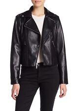 $450 Michael Kors Genuine Leather Asymmetrical Zip Moto Jacket Large Black