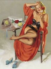 REDUCED 18X22 Canvas VALENTINE GIRL pinup ELVGREN pin-up SHEER LINGERIE STOCKING