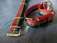 Royal Scots, red, green and blue G1098 watch strap, Gilt fittings, Army.