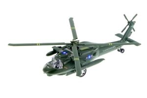 """8"""" Black Hawk Helicopter Diecast Army Military Model Fighter Airplane Toy Green"""