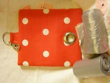 HANDMADE FABRIC DOG POO POOP BAG DISPENSER RED AND WHITE POLKA DOTS FABRIC