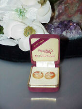 Earrings Vintage Lucite Goldplated Cameo Round Butterfly Stud