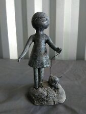 Vintage William Lattimer Little People Sculpture Girl with dog MCM