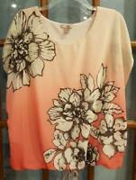 Womens L Dressbarn Roz & Ali Dressy Blouse Top Peach Pink Black Pullover Spring