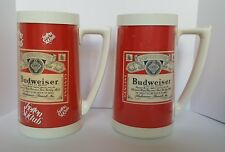 Two VTG Budweiser Beer Mugs Thermo Insulated Cup RED PLASTIC Boston Ski Club