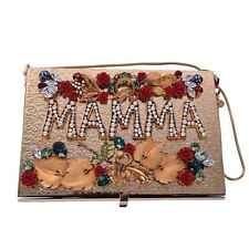 DOLCE & GABBANA Metallische Box Clutch Tasche MAMMA mit Rosen Kristallen 05721