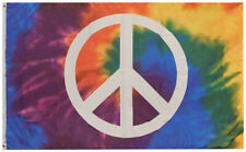 Tie Die Peace Sign Premium 100D Woven Poly Nylon 3x5 3'x5' Flag Banner Grommets