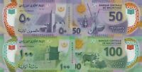 Mauritania set 2 pcs 50 and 100 Ouguiya 2017 Polymer P-New Design UNC
