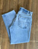 Vtg 1980s Levis 505 32x27 Light Wash Distressed Denim Jeans Made In USA Red Tab
