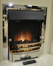 ELECTRIC CHROME SURROUND REMOTE CONTROL MODERN FIREPLACE FLAME INSERT INSET FIRE