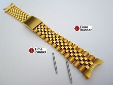 20 mm Mens Jubilee Gold Tone Solid Watch Band Bracelet