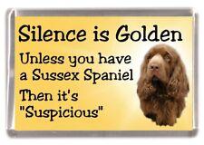 "Sussex Spaniel Dog Fridge Magnet ""Silence is Golden ..........."" by Starprint"