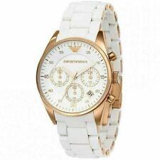 Emporio Armani Sportivo Ladies Watch AR5920¦Chronograph¦Rose Gold White Silicone