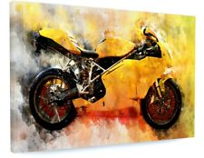 STUNNING ABSTRACT YELLOW MOTORBIKE CANVAS PICTURE PRINT CHUNKY FRAME LARGE #3586