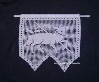 Rideau brise-vue Agneau crochet dentelle coton blanc. Création fait main neuf