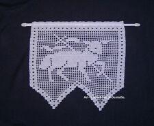 Rideau brise-vue Agneau au crochet dentelle coton blanc. Création fait main neuf