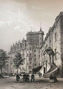 Lithographie Originale Château de Nantes 1860 Bretagne