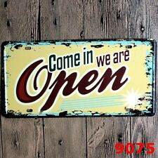 Metal Tin Sign we are open come in Bar Pub Home Vintage Retro Poster Cafe ART