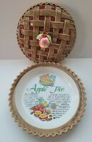 Vintage Apple Pie Dish Baker With Recipe And Pie Lattice Cover Lid Americana