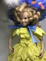 """Shirley Temple Porcelain Collector Doll 17"""" Little Colonel w/ Stand"""